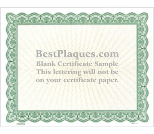 8.5 x 11 Certificate Paper - Green 25 Sheets per Pack